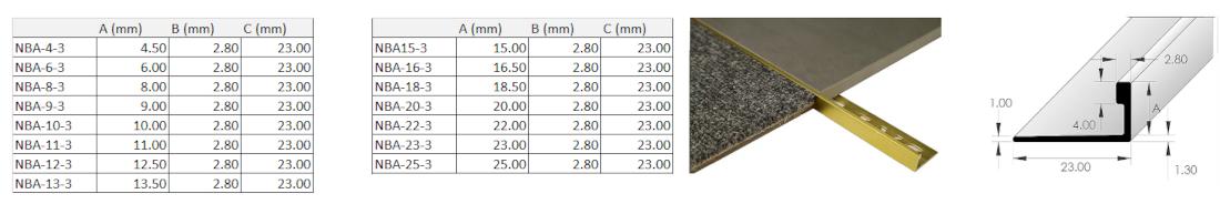 L-Angle Brass Trim 20mm x 3m 1