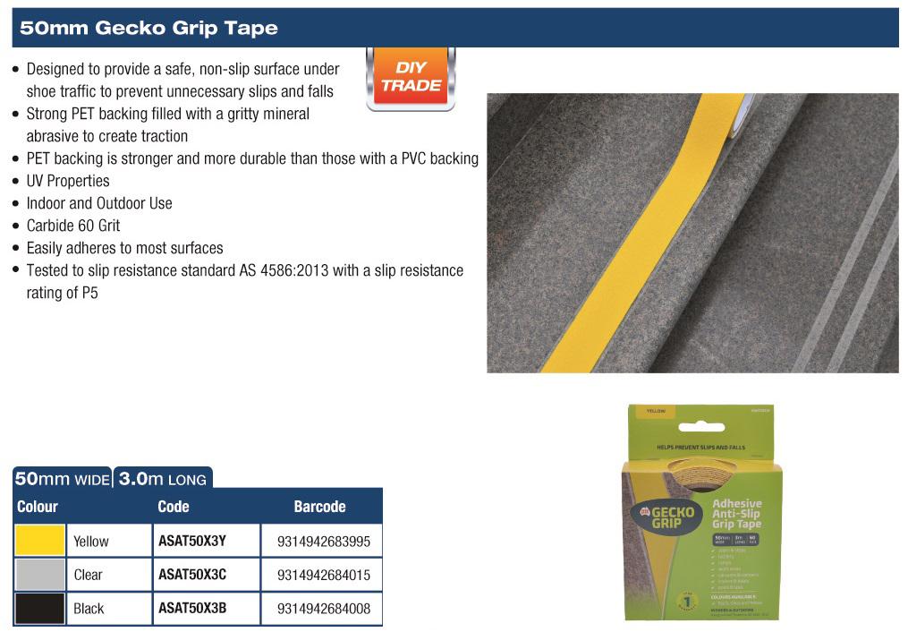 Gecko Grip Anti Slip Tape 50mm x 5m (Clear) 1