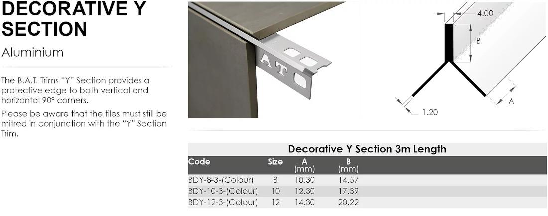 Decorative Y Section 10mm x 3m (Matt Silver) 1
