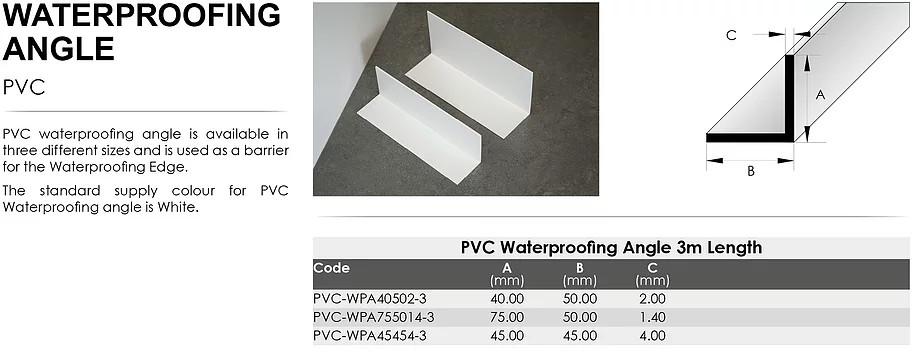 PVC Waterproofing Angle 45mm x 45mm x 4mm x 3m 1