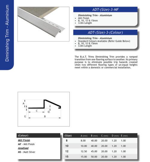 Aluminium Diminishing trim 12mm x 3m (Matt Silver)