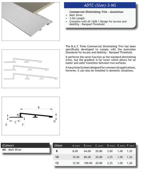 Aluminium Diminishing trim Commercial 12.5mm x 3m (Matt Silver)