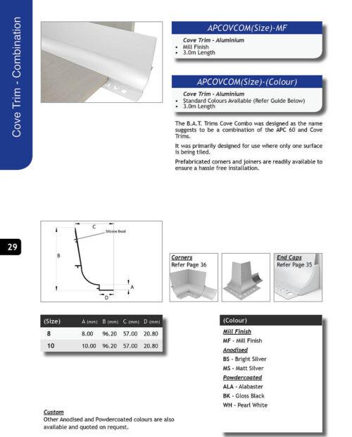 BAT APC Cove Combo Trim 8mm External Corner (Gloss White)