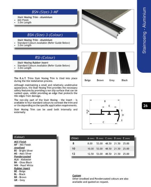 Aluminium Stairnosing 8mm x 3m (Matt Silver)