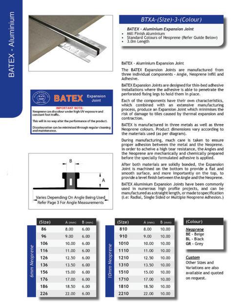 Batex Aluminium 22mm x 3m – 6mm Neoprene (Black)