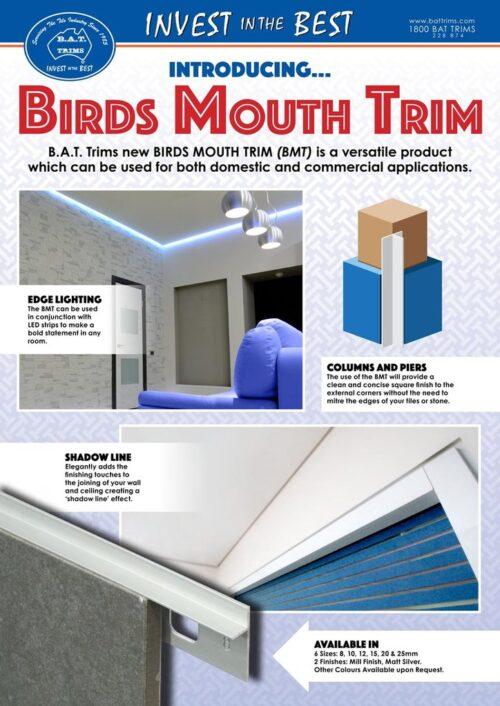 Birds Mouth Trim 8mm x 3m (Matt Silver) 1
