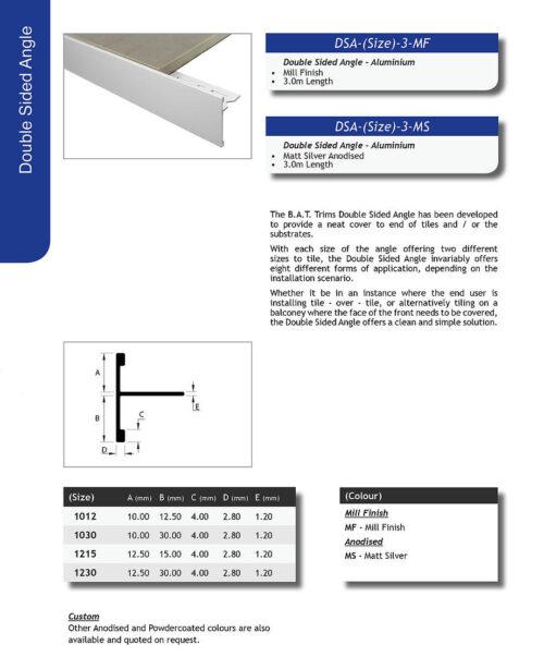 Double Sided Angle 12.5mm x 15mm x 3m (Matt Silver) 1