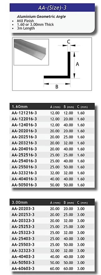 Aluminium Geometric Angle 12mm x 12mm x 1.6mm – 3 metre