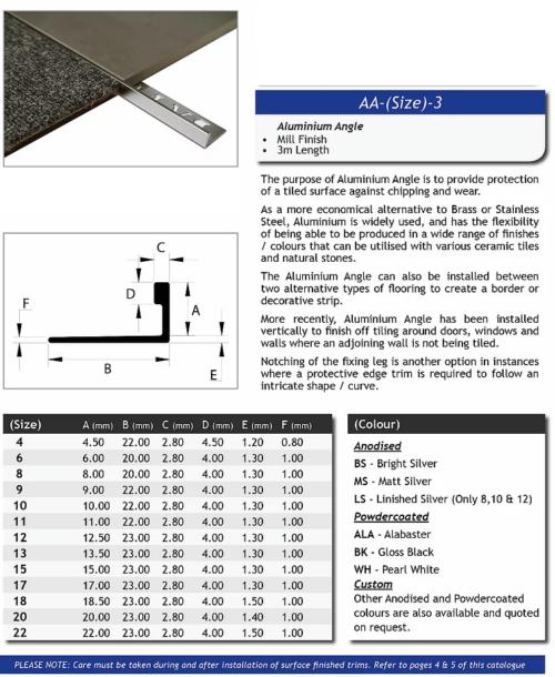 L Angle Aluminum Tile trim 4.5mm x 3m (Bright Shiny)