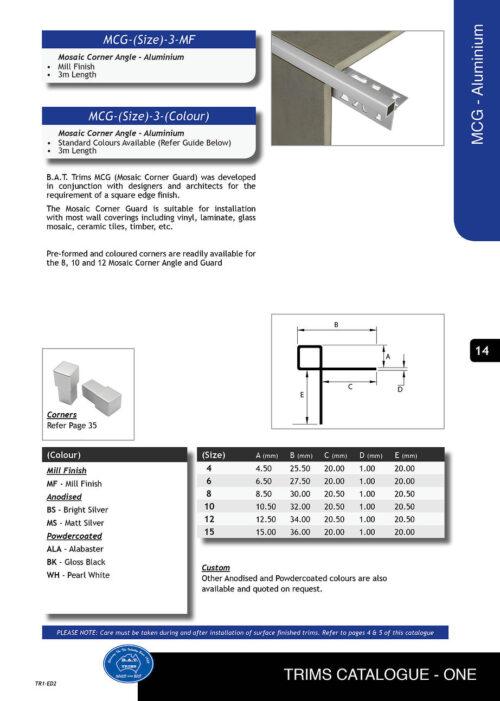 Mosaic Corner Guard Trim 10.5mm x 3m (Matt Silver) 1