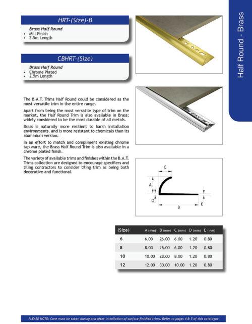 Chrome Plated Brass Half Round Trim 12mm x 2.5m