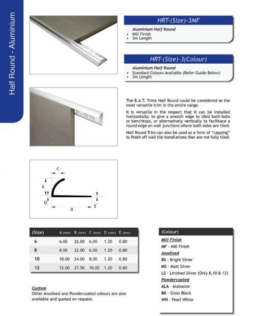 Half Round Aluminium edge 12mm x 3m Bright Silver