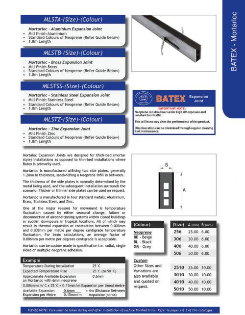 Mortarloc 30mm Zinc – 10mm Neoprene x 1.8 (Black)