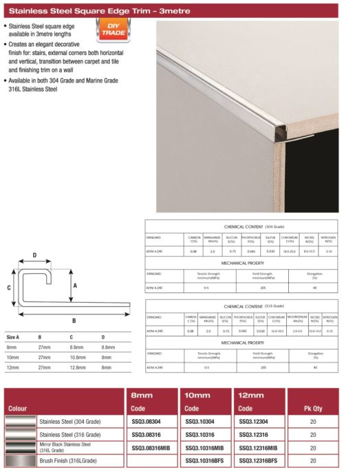 DTA Square Stainless Steel G316 Tile Trim 8mm x 3m